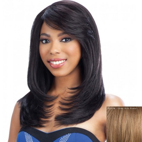 Latest Elegant Long Layered Side Bang Fashion Straight Slightly Curled Capless Human Hair Wig For Women