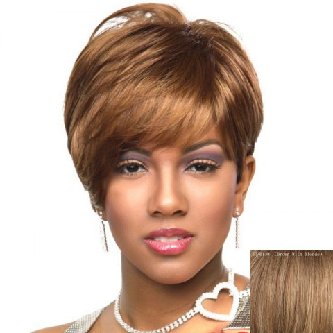 Buy Spiffy Short Layered Capless Fluffy Natural Straight Side Bang Human Hair Wig For Women