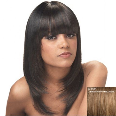 Buy Attractive Full Bang Capless Fashion Straight Long Layered Human Hair Wig For Women