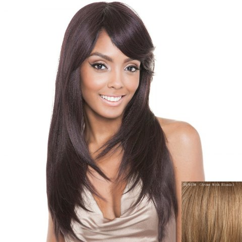 Unique Stunning Side Bang Capless  Human Hair Vogue Straight Long Wig
