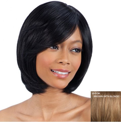 Online Ladylike Inclined Bang  Human Hair Stylish Straight Short Wig