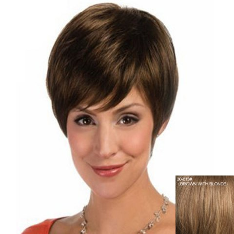 Discount Fashion Straight Capless Elegant Short Haircut Side Bang Human Hair Wig For Women BROWN WITH BLONDE