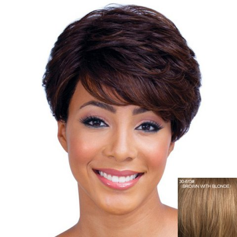 Buy Ladylike Short Haircut Capless Fluffy Natural Wave Side Bang Real Human Hair Wig For Women