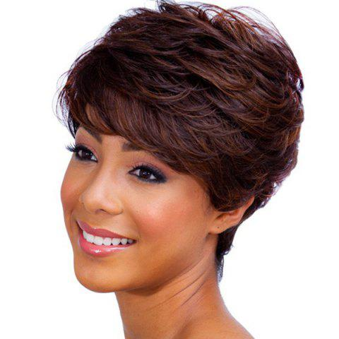 Ladylike Short Haircut Capless Fluffy Natural Wave Side Bang Real Human Hair Wig For Women от Rosegal.com INT