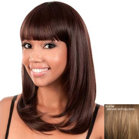 Shop Sweet Full Bang Capless Fashion Straight Long Real Human Hair Wig For Women