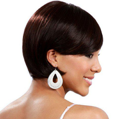 Chic Stylish Side Bang Capless Graceful Straight Short Bob Human Hair Wig - BROWN WITH BLONDE  Mobile