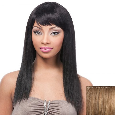 Online Gorgeous Silky Straight Side Bang Fashion Long Capless Real Human Hair Wig For Women