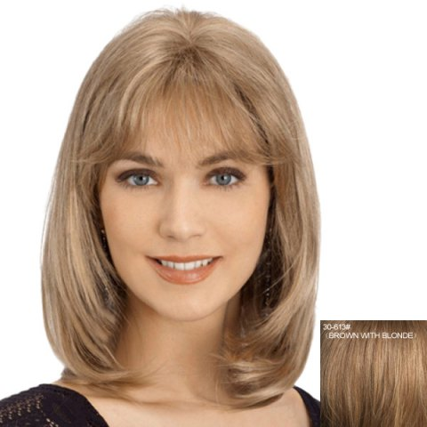 Latest Charming Straight Slightly Curled Capless Fashion Long Side Bang Human Hair Wig For Women