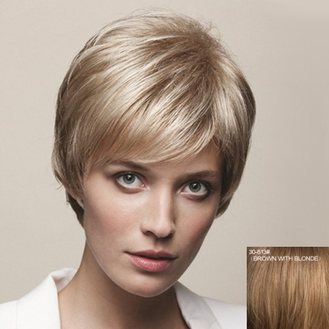 Affordable Dynamic Short Straight Capless Vogue Side Bang Real Natural Hair Wig For Women