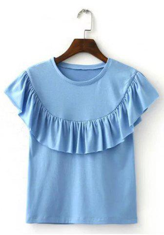 Fashion Round Collar Ruffle T-Shirt LIGHT BLUE S
