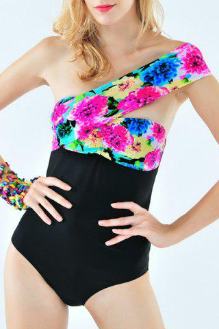 Affordable Stunning One-Shoulder Floral Print One-Piece Swimwear For Women BLACK S