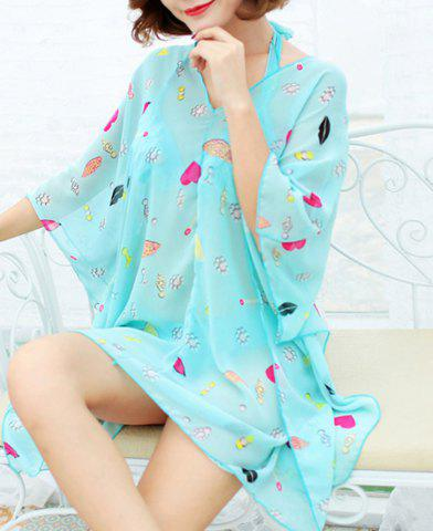 Fancy Refreshing Halter Printed Three-Piece Swimsuit For Women