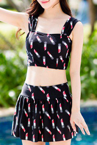 Unique Sweet Square Collar Lipstick Print Two Piece Swimsuit For Women