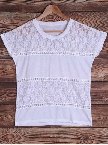 Online Brief Round Neck White Lace Spliced Short Sleeve T-Shirt For Women WHITE S