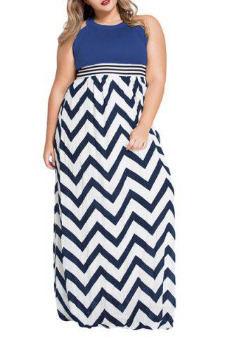 Cheap Stylish Keyhole Neckline Zig Zag Print High Waisted Women's Dress