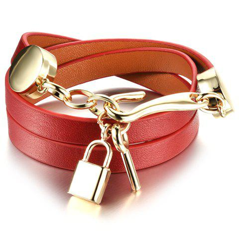 Unique Faux Leather Multilayered Key Bracelet RED