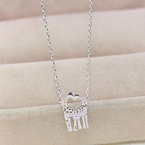 Store Gorgeous Rhinestone Heart Deer Necklace For Women
