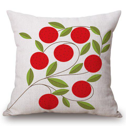 Cheap Stylish Red Plants Pattern Square Shape Flax Pillowcase (Without Pillow Inner)