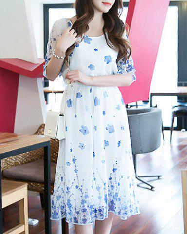 Shops Casual Scoop Collar Half Sleeve Blue Flower Print Dress For Women