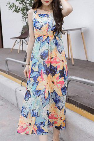 Online Casual Square Collar Sleeveless High Waist Flower Print Dress For Women