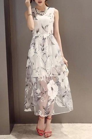 Unique Sleeveless Print See-Through Midi Dress