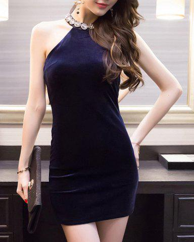 Store Stylish Halter Neck High Waist Solid Color Bodycon Dress For Women