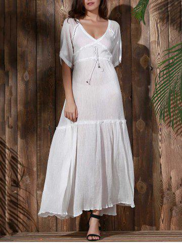 Shops Bohemian Plunging Neck Hollow Out Solid Color Women's Dress - M WHITE Mobile