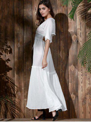 Fancy Bohemian Plunging Neck Hollow Out Solid Color Women's Dress - M WHITE Mobile