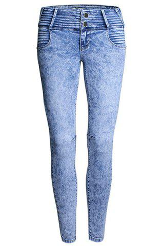 Cheap Stylish High Waist Pleated Frayed Zipper Fly Skinny Jeans For Women