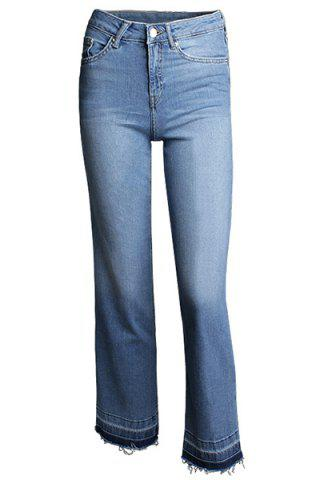 Shop Stylish Mid Waist Blue Zipper Fly Ankle Length Jeans For Women