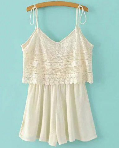 Discount Stylish Women's Sleeveless V Neck Lace Spliced Romper OFF-WHITE S