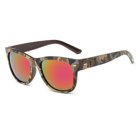 Shops Stylish Short Stripe Shape Alloy Inlay Camouflage Pattern Sunglasses For Men LIGHT COFFEE