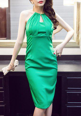 Unique Stylish Halter Green Midi Dress For Women