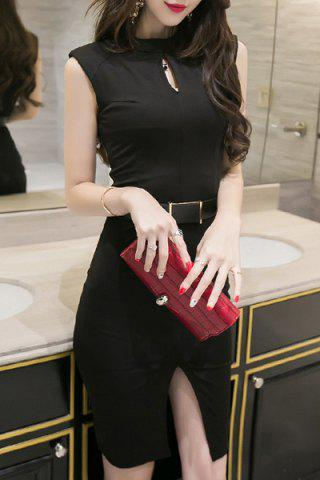 Shops Trendy Keyhole Neckline Sleeveless Solid Color Slit Dress For Women BLACK L