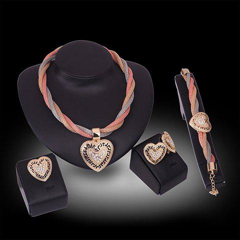 Sale A Suit of Stylish Rhinestone Hollow Out Hearts Necklace Bracelet Ring and Earrings For Women GOLDEN