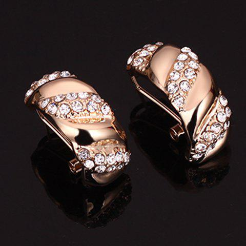 Cheap A Suit of Rhinestone Cable Knit Jewelry Set - GOLDEN  Mobile
