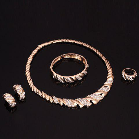 Discount A Suit of Rhinestone Cable Knit Jewelry Set - GOLDEN  Mobile