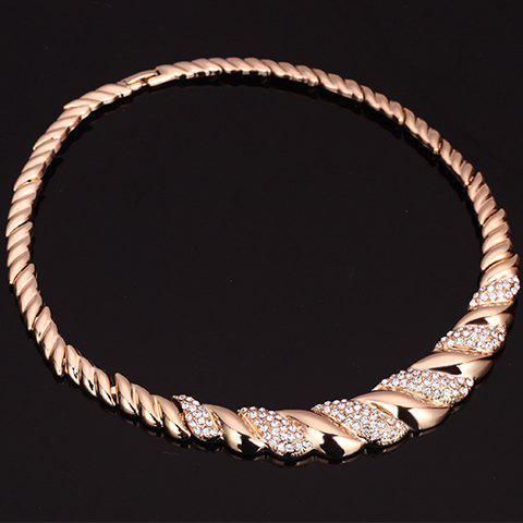Affordable A Suit of Rhinestone Cable Knit Jewelry Set - GOLDEN  Mobile
