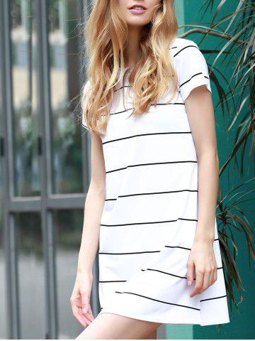 Best Trendy Round Collar Short Sleeve Striped Loose-Fitting Women's Dress WHITE M