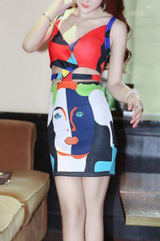Chic Trendy Strappy Printed Cut Out Bodycon Dress For Women
