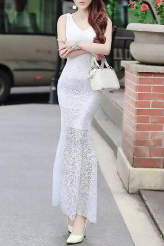 Unique Fitted Lace Mermaid Maxi Formal Wedding Dress WHITE L