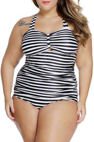 Lace-Up Striped Tankini Bathing Suit Tankini Top Swimsuit - Stripe - 4xl