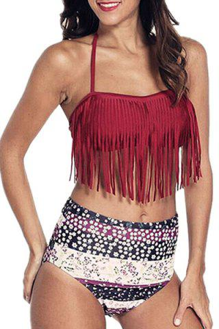 Affordable Halter Floral High Waisted Bikini with Fringe Top