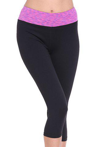 Fashion Stylish Elastic Waist Color Spliced Capri Sport Pants For Women - L ROSE Mobile