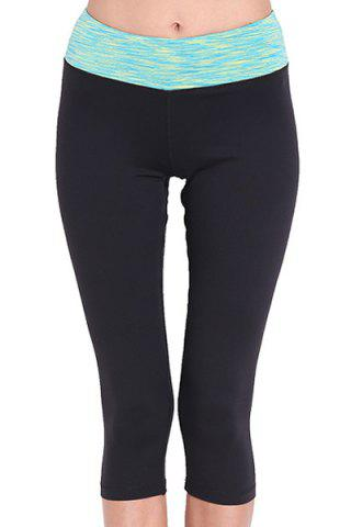 Chic Stylish Elastic Waist Color Spliced Capri Sport Pants For Women - M GREEN Mobile