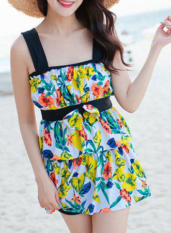 Trendy Layered Floral One-Piece Swimsuit with Ruffles YELLOW 2XL