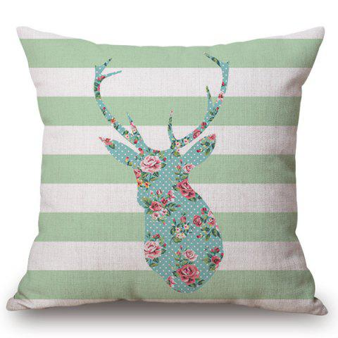 Fancy Chic Floral Deer Striped Pattern Square Shape Flax Pillowcase (Without Pillow Inner)