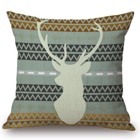 Trendy Chic Deer Contour Pattern Square Shape Flax Pillowcase (Without Pillow Inner)