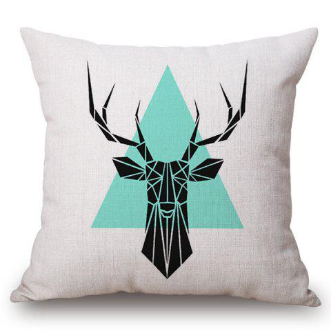 Buy Chic Geometric Deer and Triangle Pattern Square Shape Flax Pillowcase (Without Pillow Inner)