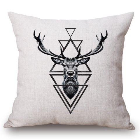 Unique Chic Deer and Triangle Pattern Square Shape Flax Pillowcase (Without Pillow Inner)
